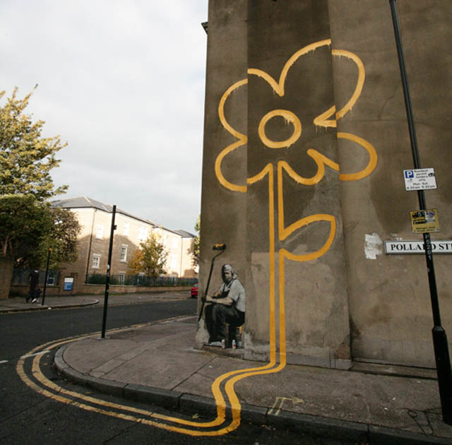 banksy yellow flower