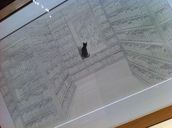 Chat noir à la fenêtre Sempé