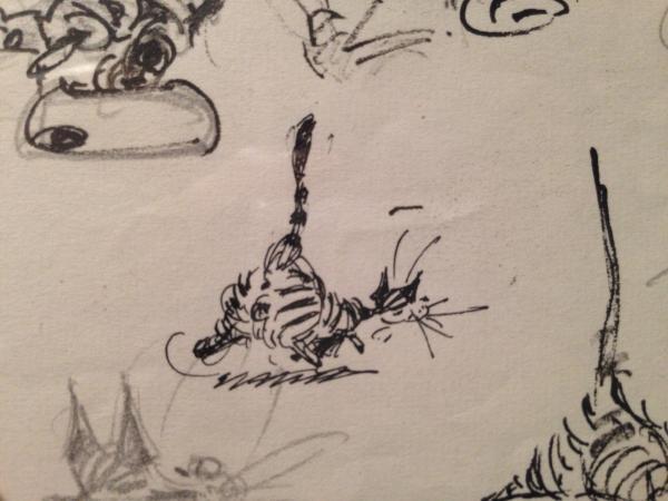 esquisse chat encre franquin