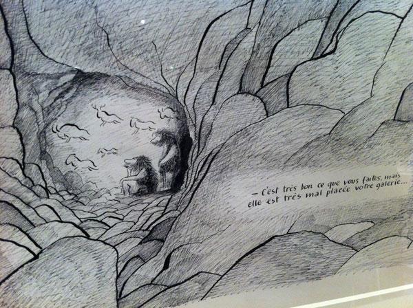 Hommes préhistorique dans leur grotte Sempé