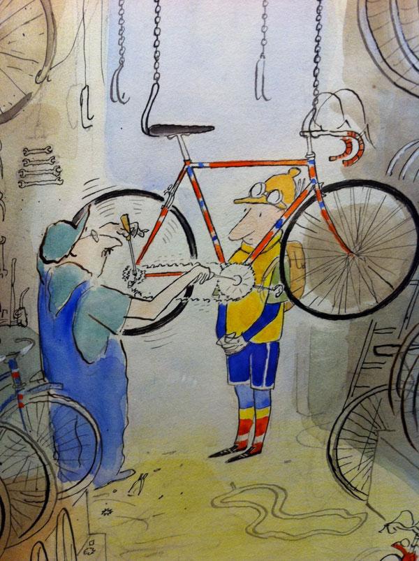 Réparateur vélo cycliste Sempé