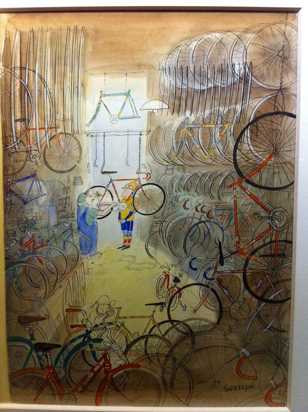 Réparateur de vélo par Sempé