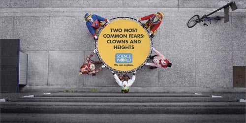 Science world : fears clowns and heights
