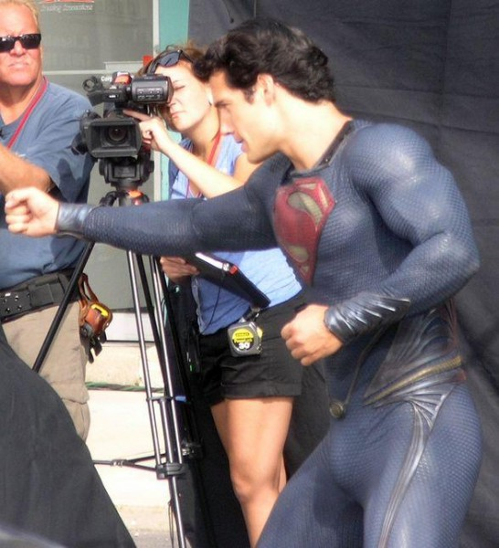 superman man of steel set photo costume henry cavill punch