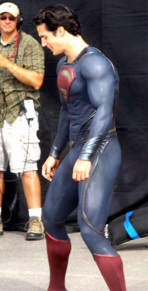superman man of steel set photo costume henry cavill