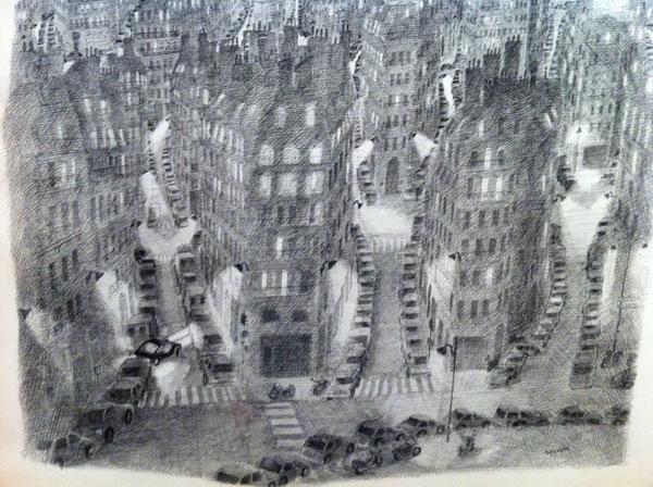 Vue de Paris Sempé noir et blanc